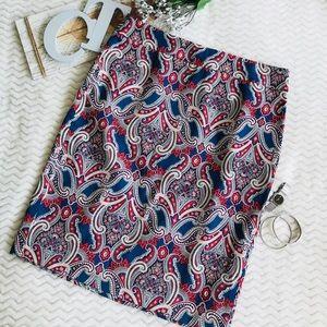 Ann Taylor Damask Print Pencil Skirt